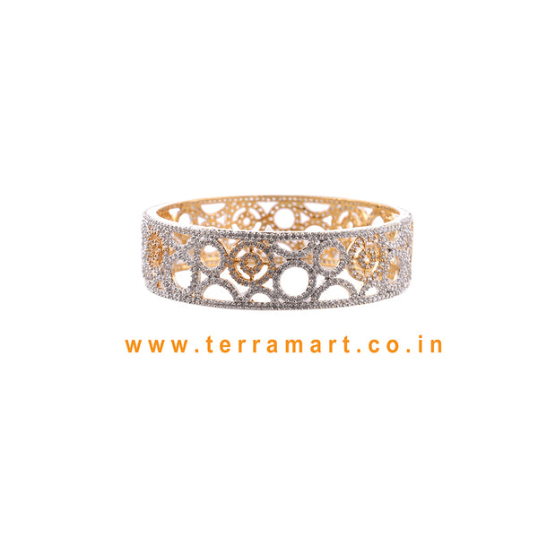 Charming White & Gold Stone Bangle - Terramart Jewellery