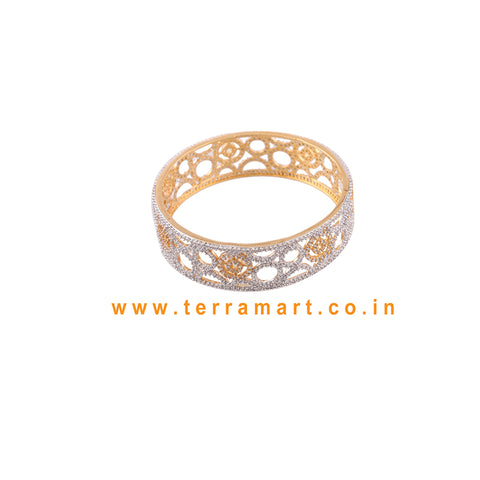 Terramart Jewellery - Grand Zircon Stone Bangle for Women / Girls ( White & Gold)