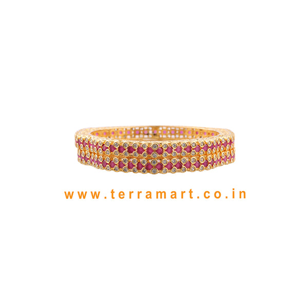 Terramart Jewellery - Grand Traditional Zircon Stone Bangle for Women / Girls ( White, Pink & Gold )