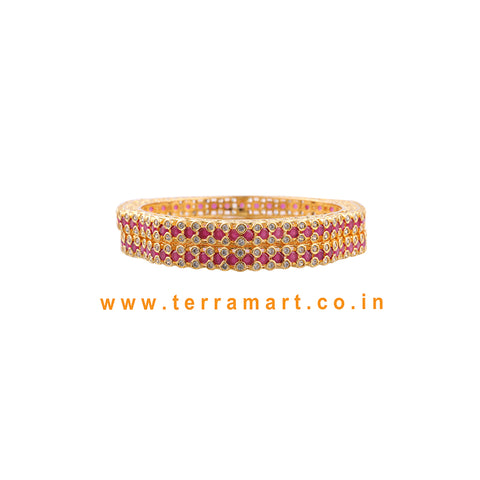Pink & White Stone Bangles With Cuteness