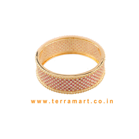 Partywear White, Pink & Gold Colour Stone Bangle - Terramart Jewellery