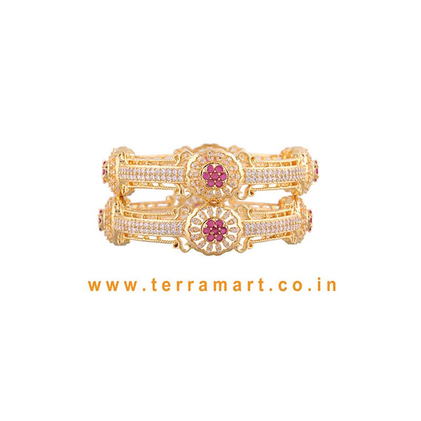 Floral Designed White, Pink & Gold Colour Stone Bangls  - Terramart Jewellery