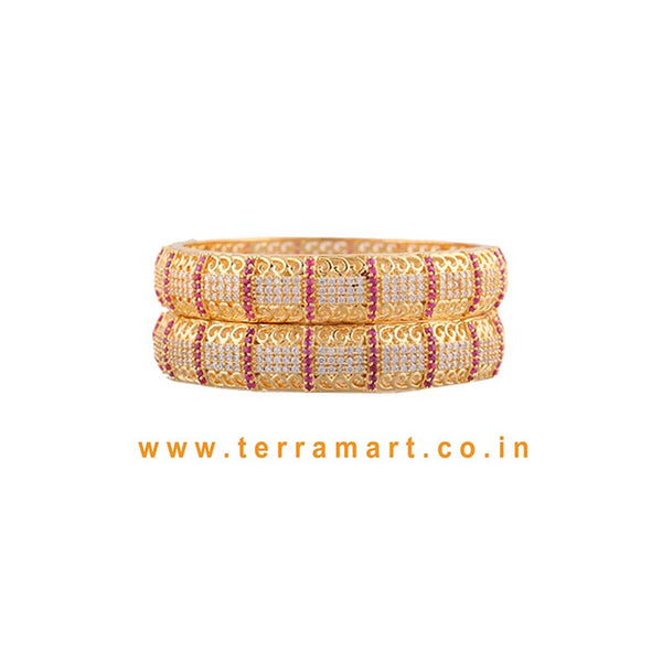 Captivating Stone Bangls With White, Pink & Gold Colour - Terramart Jewellery