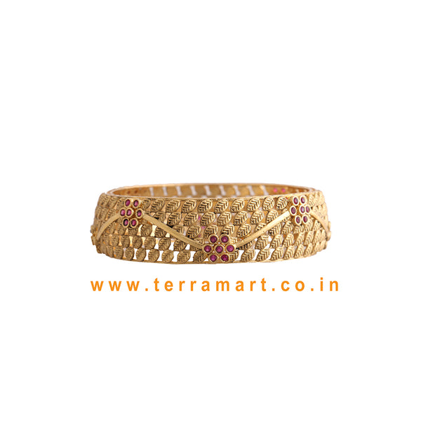 Pink & Gold Flower Designed Stone Bangle - Terramart Jewellery