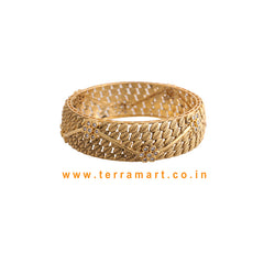 Good Looking Pink & Gold Stone Pair Bangles - Terramart Jewellery