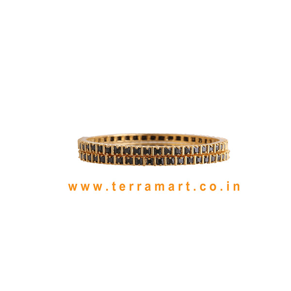 Terramart Jewellery - Traditional Zircon Stone Bangle for Women / Girls ( Black & Gold  )