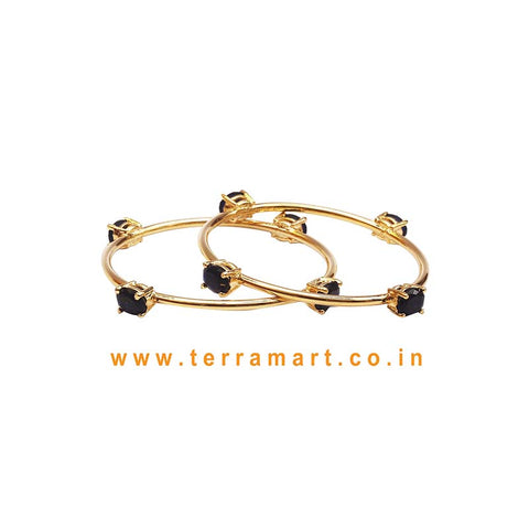 Stylish Bangles With Black Stone