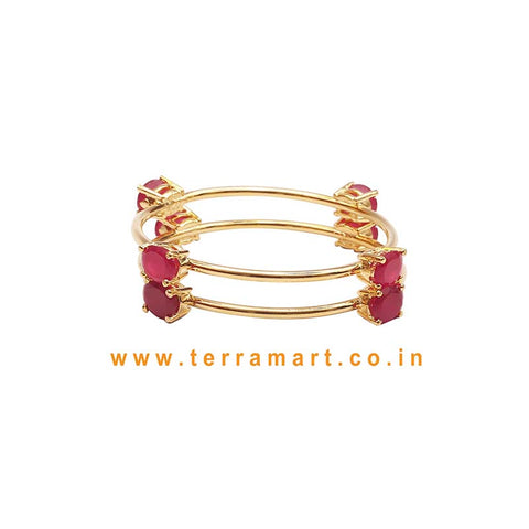Stylish Bangles With Pink Stone
