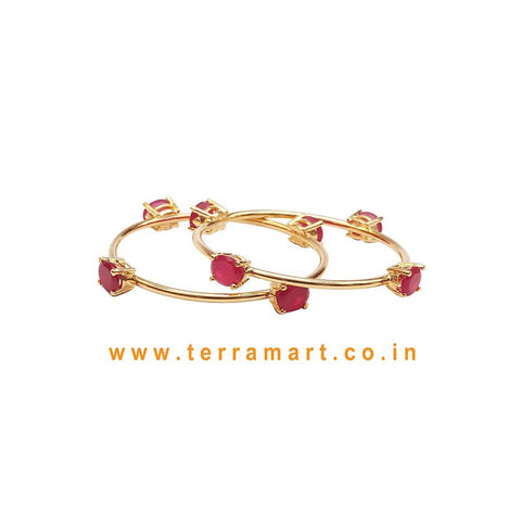 Stylish Bangles With Pink & Gold Stone - Terramart Jewellery