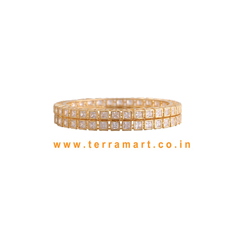 Checks Designed Stone Bangle With White Stone