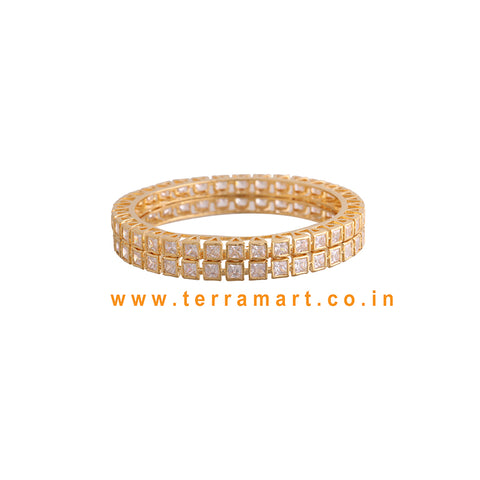 Checks Designed Stone Bangle With White & Gold Stone - Terramart Jewellery