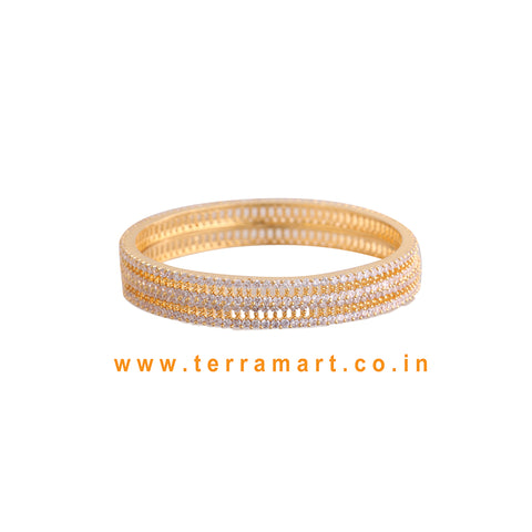 Terramart Jewellery - Traditional Zircon Stone Bangle for Women / Girls (  White & Gold Stones)