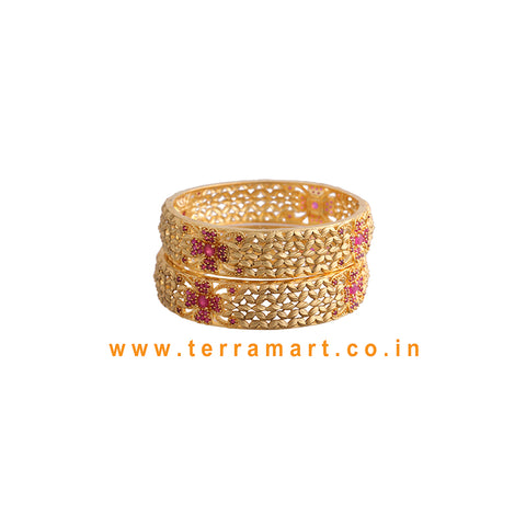 Terramart Jewellery - Traditional Grand Zircon Stone Bangle for Women / Girls ( Gold & Pink  )