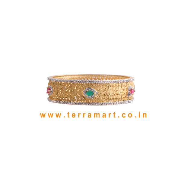 White, Pink, Green & Gold color Traditional single stone bangle  - Terramart Jewellery