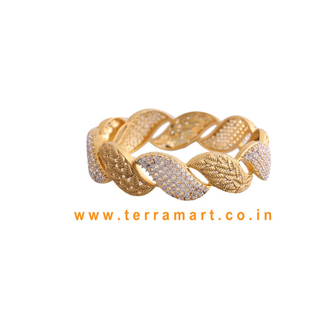 Fancy broad single bangle with White & Gold stone  - Terramart Jewellery