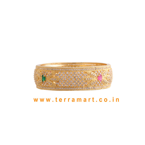 Broad floral designed single bangle with White, Pink, Green & Gold color - Terramart Jewellery