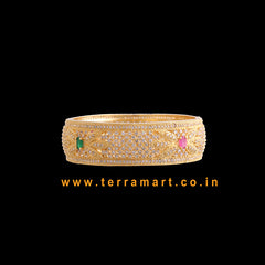 Terramart Jewellery - Traditional Zircon Stone Bangle for Women /Girls ( Pink, Green, White, & Gold )