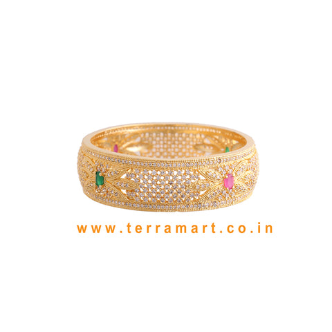 Broad floral designed single bangle with White, Pink & Green color