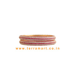 Terramart Jewellery  -  Traditional Zircon Stone Bangle for Girls - Women (Gold-White-Pink)