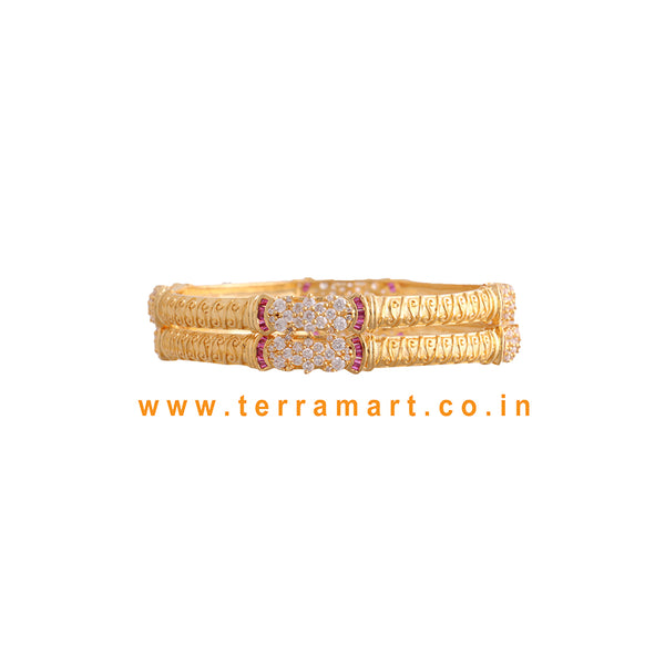 Traditional Pair Bangls with White, Pink & Gold Stone - Terramart Jewellery