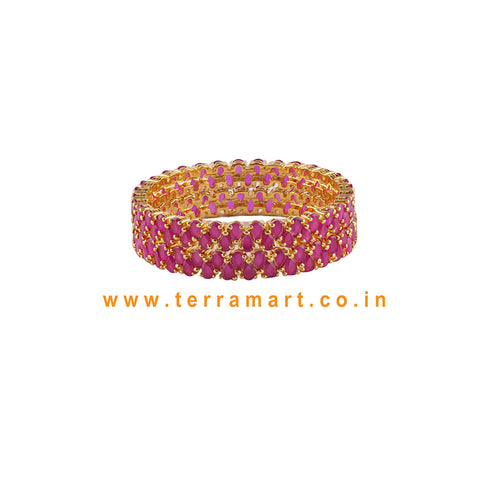 Terramart Jewellery - Traditional Zircon Stone Bangle for Girls/ Women (Pink & Gold.)