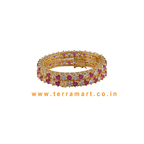 Grand Looking Heavy Bangls With White, Pink & Gold Stones - Terramart Jewellery