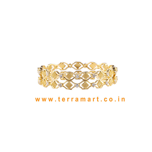 Curve Designed Bangls With White & Gold Stones - Terramart Jewellery