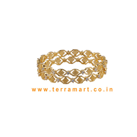 Terramart  - Traditional Zircon Stone Bangle for Girls / Women ( White & Gold )
