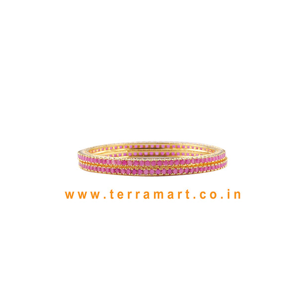 Nice Looking Pink & Gold Stoned Pair Bangls  - Terramart Jewellery