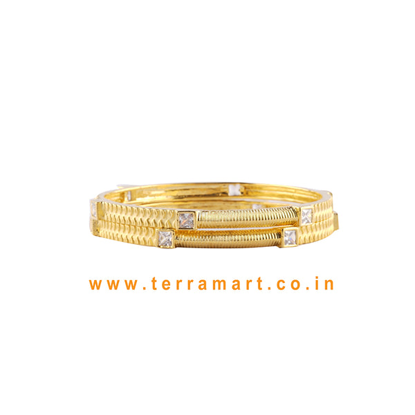 Tidy Pair White & Gold Stone Bangles With Cuteness - Terramart Jewelery