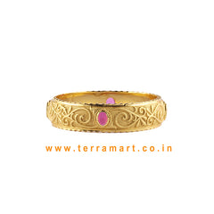 Terramart Jewelery - Traditional Zircon Stone Bangle for Girls / Women (White,Gold & Pink)