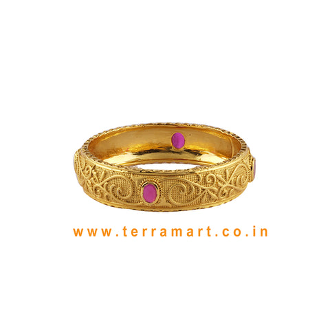Beauteous Single Bangle With Pink & Gold Stone - Terramart Jewellery