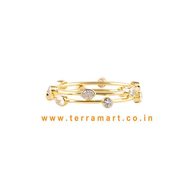 Stylish Bangles With White & Gold Stone - Terramart Jewellery