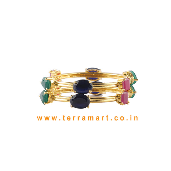 Fabulous Bangls With Blue, Pink, Green & Gold Colour Stone - Terramart Jewellery