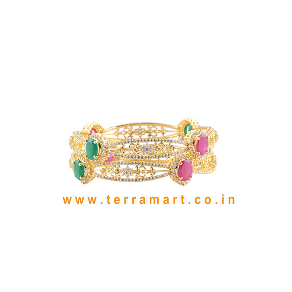 Pleasing Bangles With White, Pink, Green & Gold Colour Stone - Terramart Jewellery