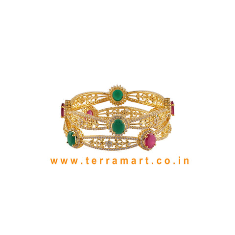 Pleasing Bangles With White, Pink & Green Colour Stone