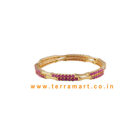 Simple & Nice Pink & Gold stone pair bangles - Terramart Jewellery