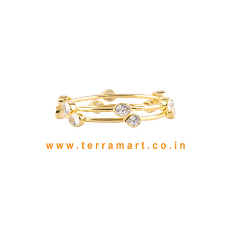 Terramart Jewellery - Traditional Grand Zircon Stone Bangle for Girls / Women ( White, Pink, Green N Gold )