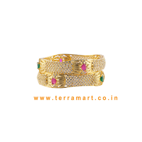 Lotus Flower Designed Bangls With White, Pink, Green & Gold Colour Stone - Terramart Jewellery
