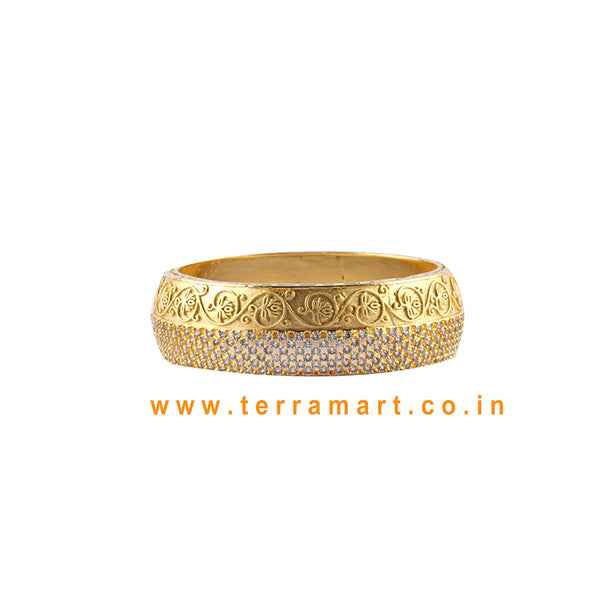 Flower Designed Bangls With White & Gold Colour Stone - Terramart Jewellery