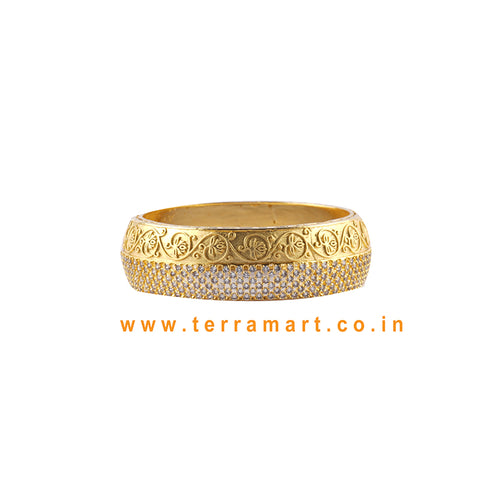Terramart Jewelery  Traditional Zircon Stone Bangle for Women -  Girls (( White & Gold ))
