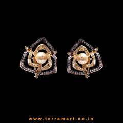 Floral Designed Earrings With Zircon Stone & Pearl