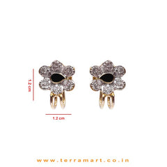 Floral Design White Zircon Stone Ear cuff With Black Enamel Work - Terramart Jewellery