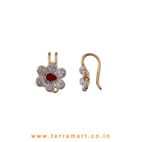 Floral Design White Zircon Stone Ear cuff With Red Enamel Work