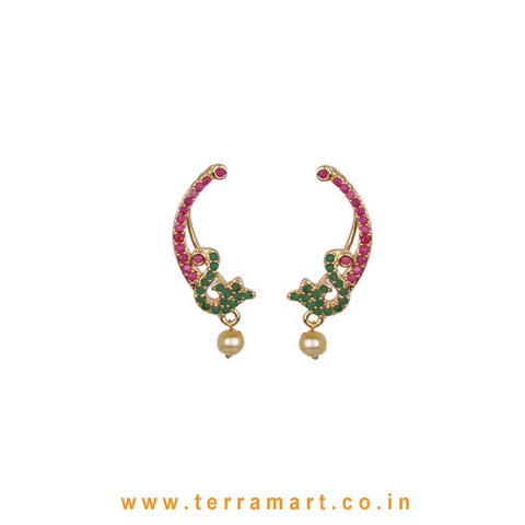 "Alphabet ""S"" Designed Charm Pink, Green & Gold Zircon Ear Cuff With Pearl - Terramart Jewellery"