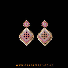 Admirable White, Pink & Gold  Stone Earrings - Terramart Jewellery