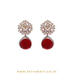Miraculous White, Red & Gold  Stone Earrings - Terramart Jewellery