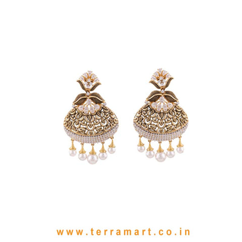 Artistic Designed White & Gold Stone Earrings With Pearl - Terramart Jewellery