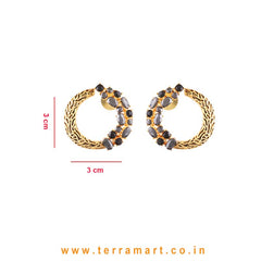 Leaf Designed White, Black & Gold Stoned Branch Shaped Earrings - Terramart Jewellery