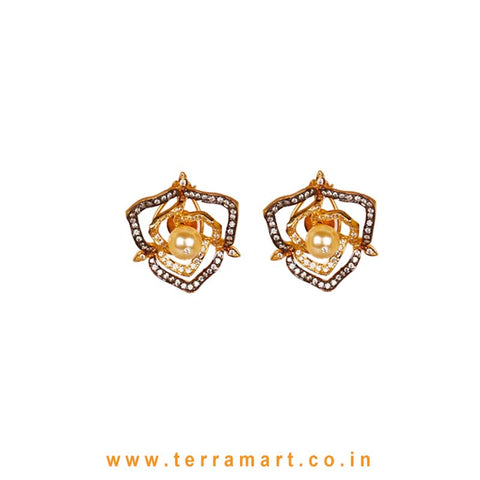 Lovely Floral Outline White & Gold Stone Earrings With Pearl - Terramart Jewellery